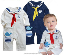new foreign trade children's clothing boy girl newborn babies naval academy model cotton rompers baby climb clothes