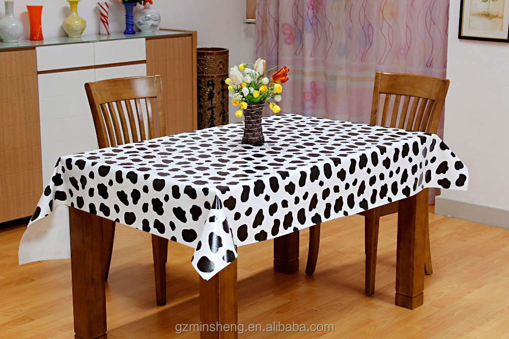 Wholesale cow markings pattern pvc table cloth with non-woven backing