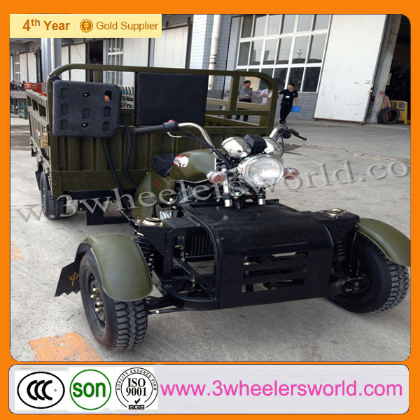 Reverse Tricycle/Motorcycle with Two Front Wheels for Wheelbarrow