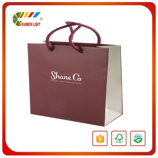Direct factory low cost fashion custom size rople handle paper hand bag