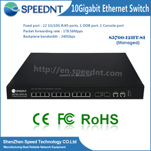 High-end Full Managed Layer3 12port 10gbps copper switch &4 10Giga SFP+ Ports 10g sfp network Switches