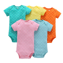 5pcs/lot baby newborn boy summer 100% cotton short sleeve romper set