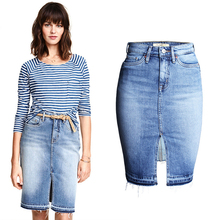 Spring and summer tide fashion ladies casual sexy washed high waist slim split jeans <strong>skirt</strong> for women