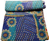 KTKG-17 Hand Block Print Indian Vintage Look Patchwork Blue Color Cotton Fabric Gudri Good Looking pure cotton Jaipur