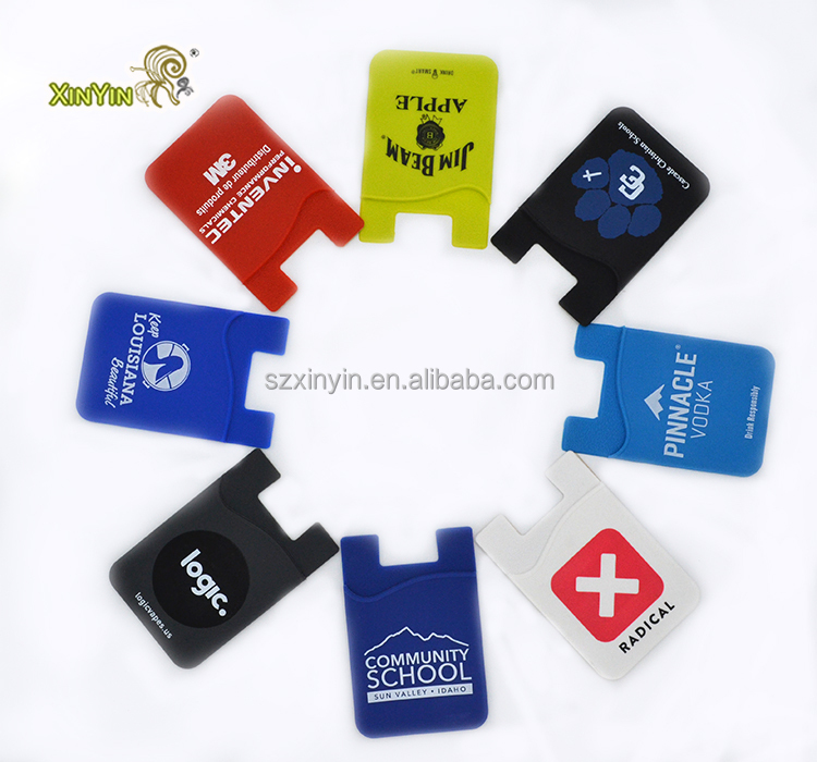 Custom logo mobile cell phone silicone credit card holder and pocket