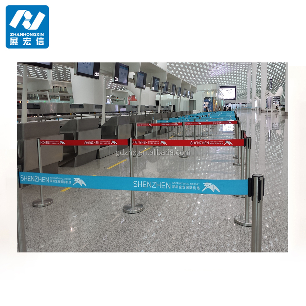 portable retractable nylon belt queue barrier for subway queue management system