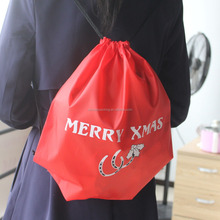 New Design Red Color 210D Polyester Drawstring Christmas Gift Bag