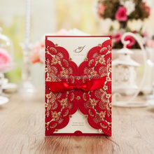 red chinese laser cut red wedding invitation cw5113