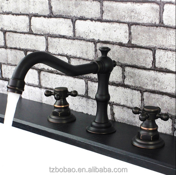 2017 Old Fashioned Deck Mounted Matte Black Finished Double Handles Oil Rubbed Black 3-Hole Wash Basin Faucet Mixer Taps