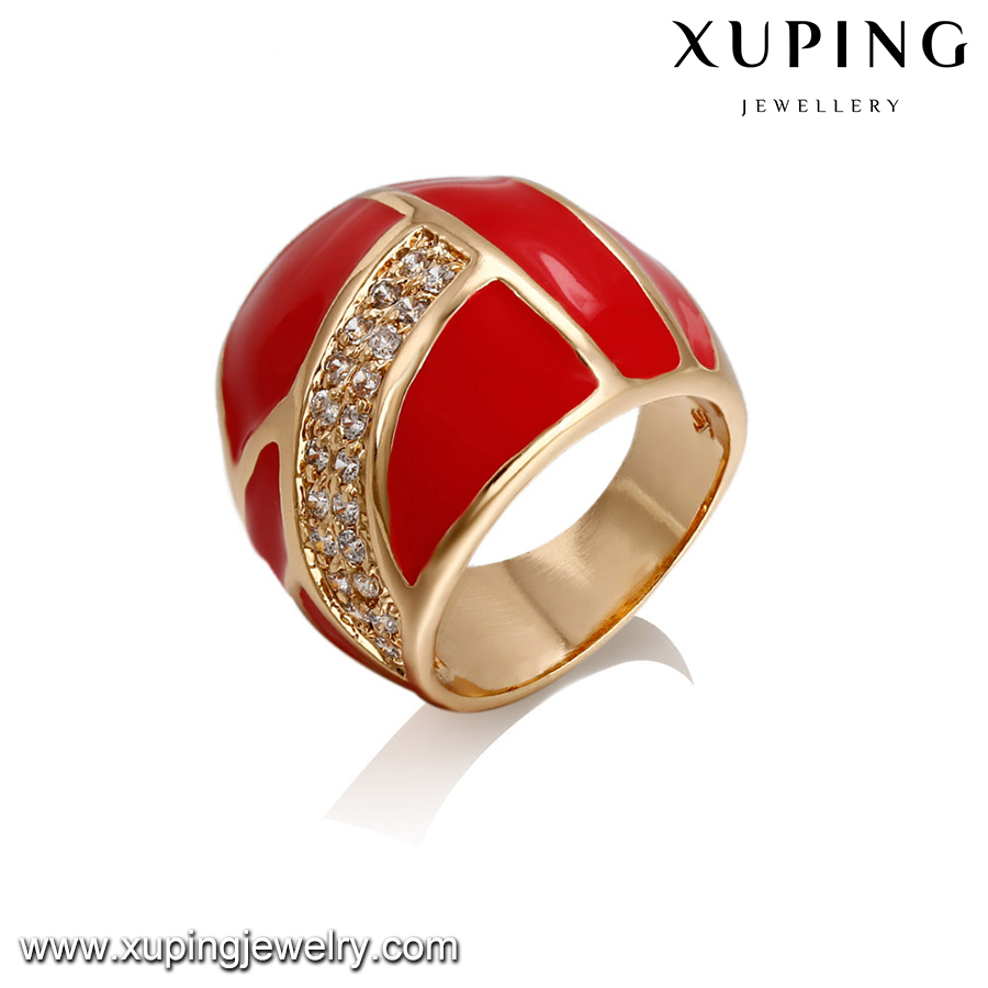 14408-high and fashion jewelry 18k gold red color stylish gold finger rings