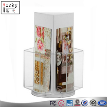 Unique design acrylic book/ folder /document holder with 3 sides rotating brochure rack
