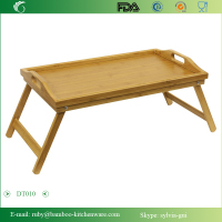 DT010/Dining Coffee Table TV Laptop Tray Bedroom Bamboo Bed Tray Dining Folding Breakfast Table Tray with Handles