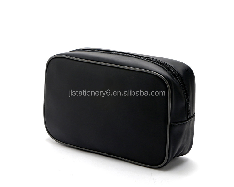 Small Cheap Black PU Leather Cosmetic Bag Cosmetic Pouch
