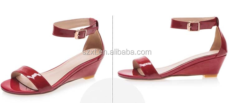 Fashion ankle stripe patent leather summer ladies wedge heel sandal & slippers