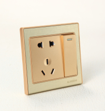 2015 hot 1 gang 1 way switch and 5 hole socket the modern European style switch socket are used together
