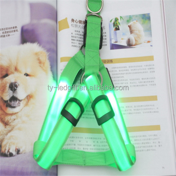 Pet dog chain LED stripe light flashing dog leash with luminous collar