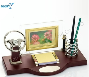 Car Model Design Wood Clock with Pen Stand for Office Desk Set Gifts