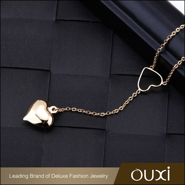OUXI 2016 Korean design High quality Long chain Heart charming pendant gold plated fashion jewelry necklace 11567