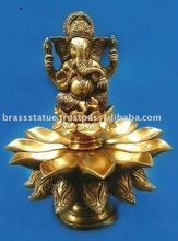 Oil Lamp ( deepak ) with Lord Ganesh brass statue