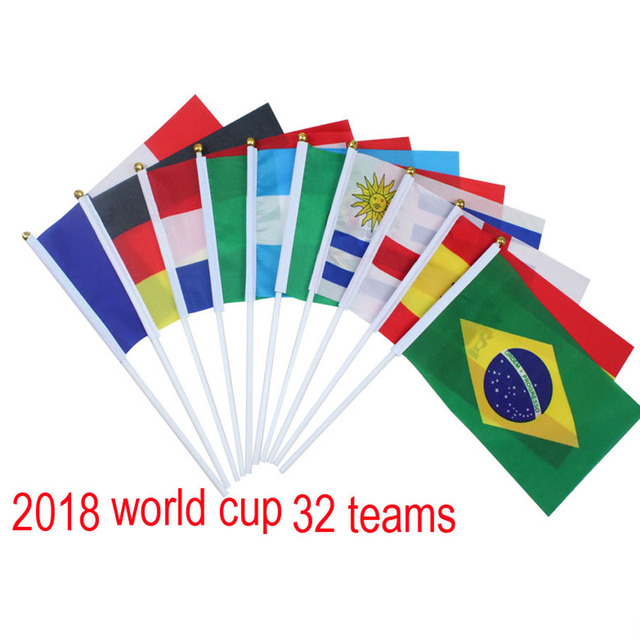 32 football teams country 2018 world cup national soccer fans hand flag