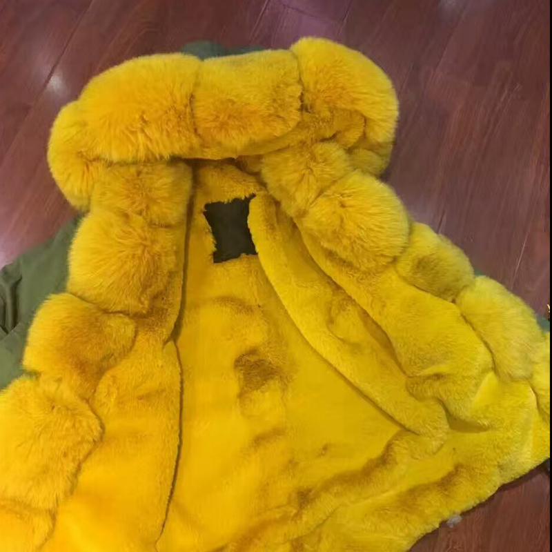 XS-4XL Eouropean Style Short Russia Yellow Fox Fur Parka,Mens Winter Jacket with yellow fur inside for men