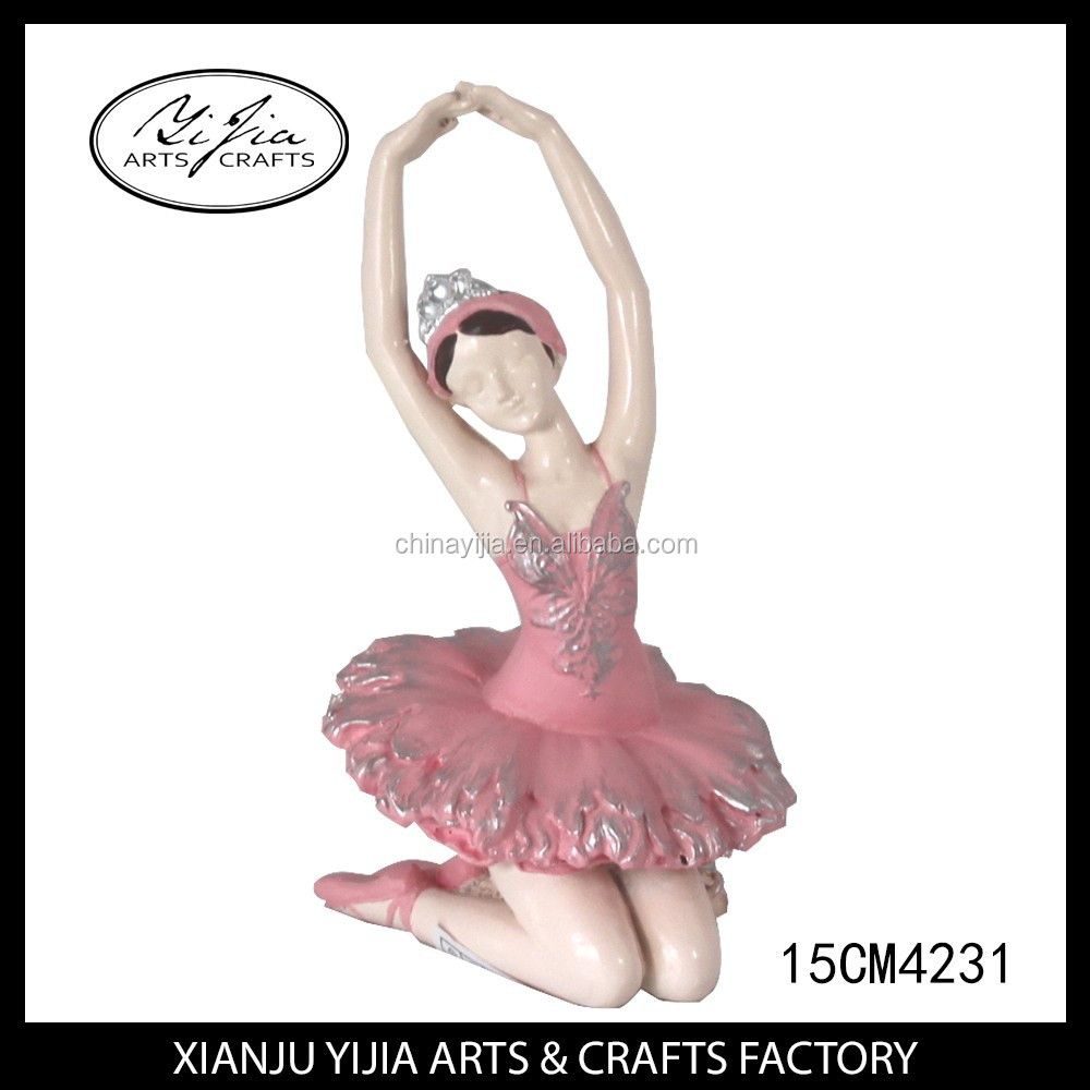 Polyresin Lovely Pink Decorative Ballerina Figurine Resin fairy figurines wholesale