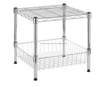 Chrome Supreme Collection Supreme Stacking Shelf with Basket wire shelving system