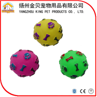 Eco friendly squeaky color rubber vinyl ball dog toy with sounding