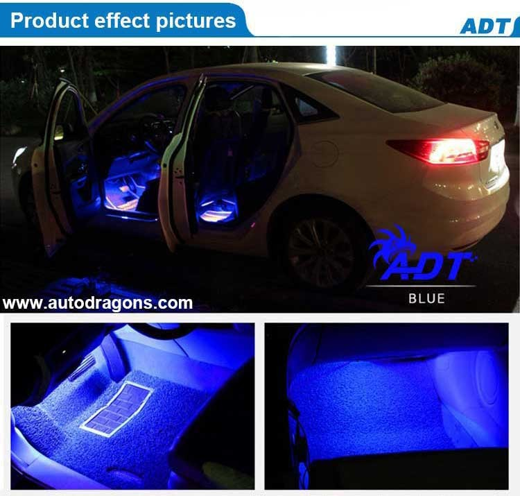 4x Car Interior LED Atmosphere Light Kit Easy Installation Non-noise Auto Floor Decoration Lamp