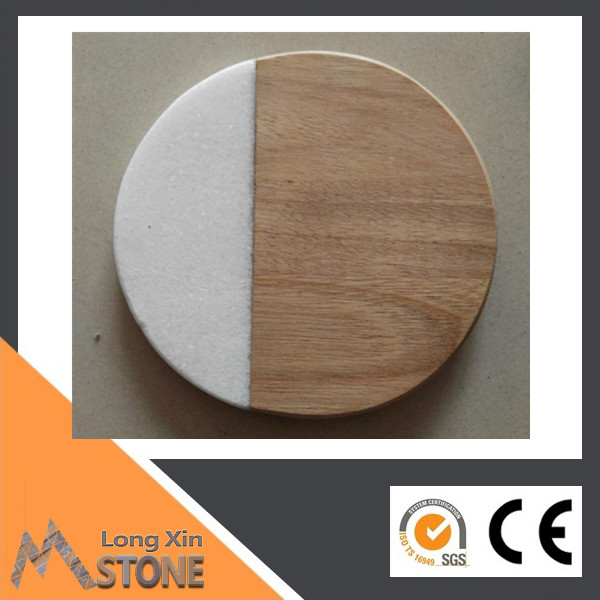 <strong>Natural</strong> Marble and wood wine coaster