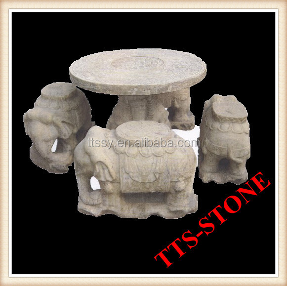 carved elephant stone table and stool