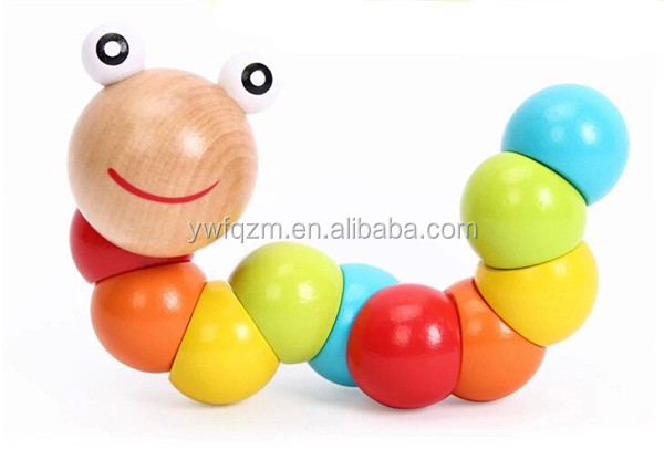 Colorful insects twist caterpillars wooden educational toys for kids