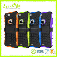 Cool Tyre Pattern PC Silicone TPU iPhone7Plus Phone Case with Folded Holder