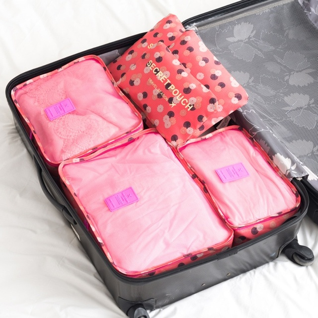 6PCS/Set High quality Oxford cloth travel mesh bag in bag luggage organizer packing cube organiser for clothing