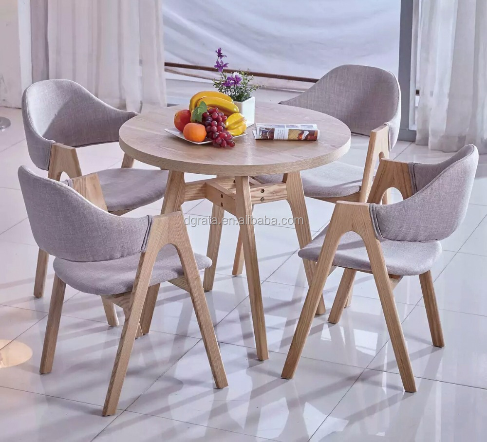2017 New Design Round Solid wood Dining Table For 4 Set coffee table Furniture