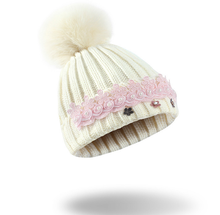 100% acrylic winter ski manufacturer lace decoration woman beanie hat knit hat with top ball
