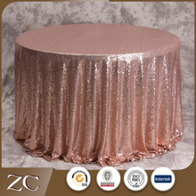 Wholesale new design rose gold round wedding sequin table cloth