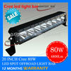 80w cree t 6 led tuck work light,single row led driving head light bar for suv 4wd