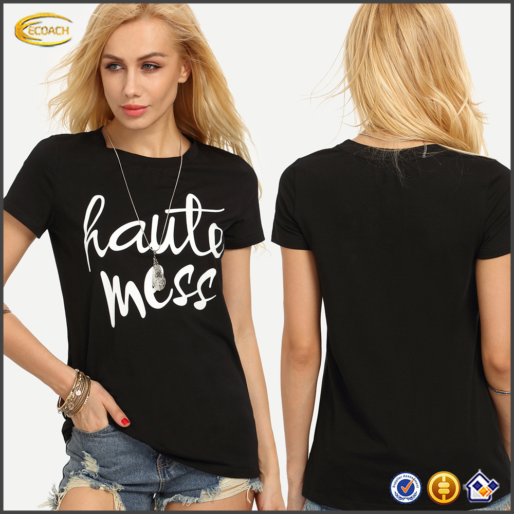 Ecoach latest design high quality super soft black short sleeve 100%cotton Letters Print women T-shirt