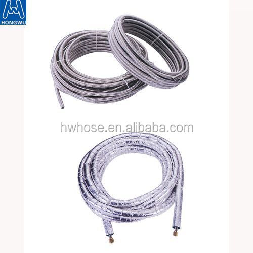 China supplier 304 316 stainless steel corrugated flexible plumbing hose with brass fitting