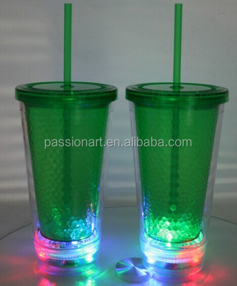 16oz double wall led flashing light tumbler