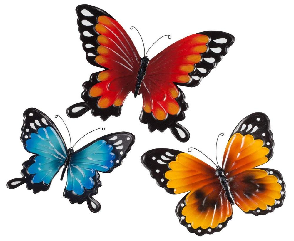 set of 3 colorful metal butterfly home wall art <strong>decoration</strong>