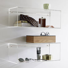 Clear acrylic wall mounted shelf, square lucite floating shelf, plexiglass wall hanging display organizer