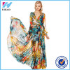 Wholesale 2016 Long sleeve chiffon maxi new fashion ladies dress wholesale v neck floral print dress plus size fat women