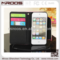 2014 New style case for iphone 5, 3 card slots stand wallet leather case