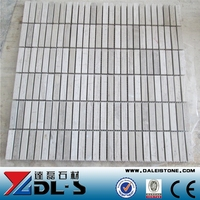 Strip White Wooden Marble Mosaic Tile For Wall Cladding
