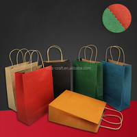Colorful recycle shopping kraft paper bag with handle