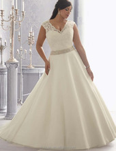newest deep v neck lace wedding dresses plus size white