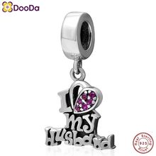 Dooda Jewelry Genuine 925 Sterling <strong>Silver</strong> I Love my Husband Charms Pendant Beads Factory Price fit Bracelets and Necklaces