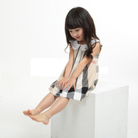 Plaid dress girl wear kids clothes wholesale price